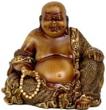 "Best Unique Good Luck Housewarming Gift Idea - 6"" Small Sitting Happy Buddha Faux Bronze Statue Figure"